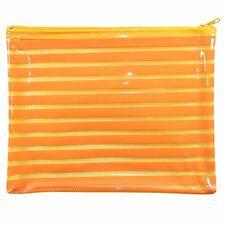 Large Gloss Orange Plastic Pencil Case Travel Toiletries Bag Make Up Cosmetics