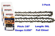 """16 Inch 3/8"""" Pitch 0.050'' Gauge Full Chisel Chainsaw Chain 56 Links (3PCS)"""