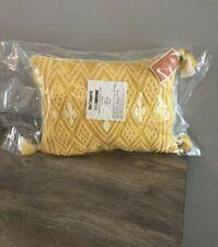 "pier 1 imports yellow decorative throw pillow geometric honey fringe 16"" x 12"""