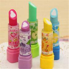 2 x Unique Lipstick Shape Style Fruit Scent Multicolor Rubber Pencil Eraser