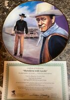 "John Wayne ""Showdown with Laredo"" Collector's Plate Vintage + COA 9 1/4"" Used"