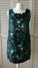 RIVER ISLAND L'Art Teal Gold Abstract Print Dress Lace Jewel Neckline Size 10