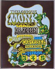 Poster: Thelonius Monk, Dr. John, Charlatans, at Carousel, San Francisco, 1968