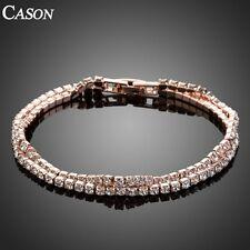 Cubic Zirconia Double Row Link Tennis Bracelet Women Rose Gold Plated Jewelry
