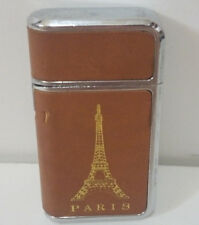 LEATHER-Wrapped Butane Torch Lighter--Paris/Eiffel Tower--Silver case--Works!