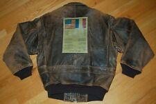 Vintage AVIREX TYPE A-2 PATROUILLE DE FRANCE Leather Flight BOMBER Jacket Size S