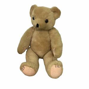 "Blond Jointed Teddy Bear Vintage Felt Paws 18"" H"