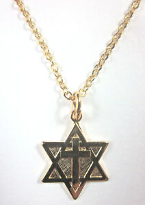 """Messianic Gold Plated Small Star of David Cross  3/4"""" Pendant Necklace 20"""" Chain"""