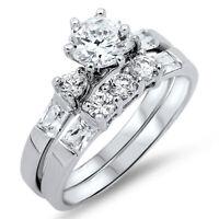 Bezel Brilliant Cut CZ Wedding / Engagement Genuine Sterling Silver Ring Set