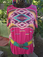 NWT~$140~Southwestern Saltillo Serape Embroidered Beaded Top~Double D Ranch~2016