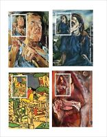 Oskar Kokoschka PAINTINGS ART 8 SOUVENIR SHEETS MNH UNPERFORATED