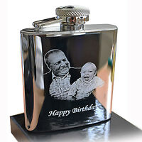 Steel HIP FLASK, Photo Engraved for Christmas, Best Man, Father's day gift