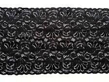 Diseño negro 15cm amplia franja De Encaje Floral Lencería Disfraz De Costura un recorte de 6'