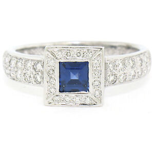 NEW Solid Platinum 1.18ctw Square Sapphire & Diamond Halo Engagement Ring Sz 6.5