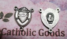 "Sacred Heart of Jesus - Oxidized Base Metal 7/8"" Rosary Centerpiece"