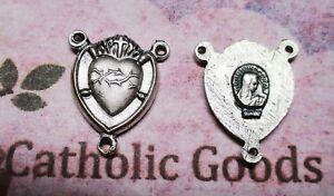 "Sacred Heart of Jesus - Oxidized Base Metal 7/8"" Rosary Centerpiece"