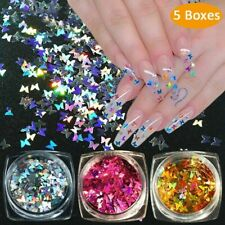 Nail Glitter Sequins 3D Butterfly Flakes Nail Decoration Holographic Laser^&*