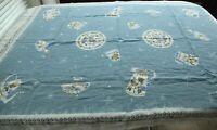 "Vintage Cotton Tablecloth Blue Novelty Print Pottery 48"" x 63"" Rectangle 60s"