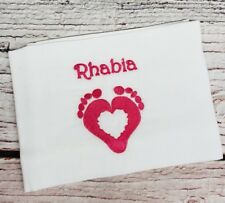 PERSONALISED Baby Muslin Cloth Wash Face Burp Gift BOY GIRL NAME Footprint