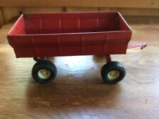 Vintage Red Ertl Farm Tractor Hauling Wagon Toy Rubber Tires Gate Opens