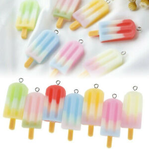 10Pcs Cute Ice Cream Charms Pendant Jewelry Findings Handmade DIY Candy Color