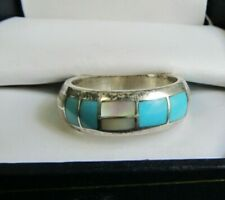 Ted TSADIASE INLAID BAND RING Zuni Native American silver 8.5  Turquoise MOP