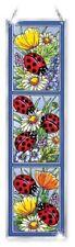 "Ladybugs Sun Catcher Amia Panel Hand Painted Glass 16"" High Daisy Flowers"