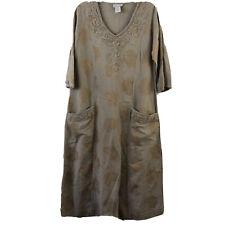 Soft Surroundings Women Dress Tunic Embroidery Midi Pockets Beige Petite Size PS
