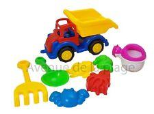 Camion de chantier 29 cm + 7 accessoires de plage, pelle, râteau pas cher neuf
