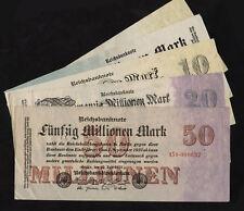 Ro.091-097 1,5,10,20,50 milioni di Mark 1922-23 (3) lot