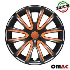 "14""Inch Hub Cap Wheel Rim Cover For BMW Glossy Orange with Black Insert 4pcs Set"