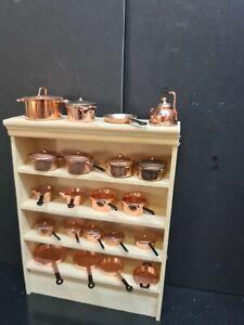 dolls house accessories metal/copper pots/pans items on shop shelf 1.12th SA