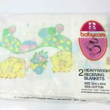 Vintage Baby Blanket Pair Receiving Cotton Blankets Riegel Babycare Elephant