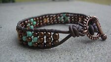 Copper and Turquoise Beaded Wrap Leather Cuff Style Bracelet handmade USA
