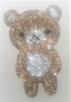 PANDA OURSON 8cm Strass Hotfix Thermocollant  PATCH gold silver custom