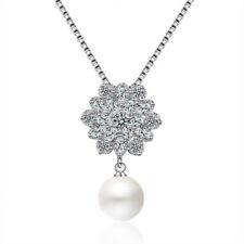 Fashion Jewellery 925 Sterling Silver Zircon Snowflake Pendant Necklace 18 inch
