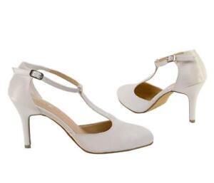 Ladies Ivory Satin Wedding Bridal Court Mary Jane Style Shoes Size