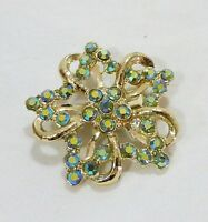 Estate vintage crystal green rhinestone floral fashion brooch gold tone