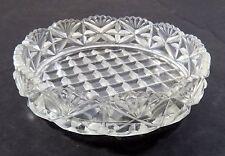 Clear Cut Glass Round Candy Dish Nut Bowl w/ Ruffled Edge