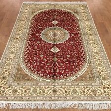YILONG 5'x8' Hand Knotted Persian Silk Red Rug Home Office Lounge Carpet WY370C