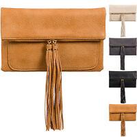 Foldable Faux Leather Women Ladies Clutch Bag Designer Evening Party Tassle UK