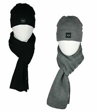 Only & Sons Mens Beanie Hat and Scarf Set Warm Fleece Knitted Thick Knit Caps