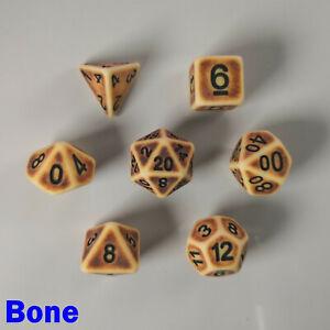 HD Ancient Poly 7 Dice RPG Set Bone White Brown Dungeons Dragons Pathfinder D&D