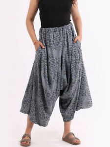 Leopard Print Cotton Harem Pant in Grey from Timeless Season