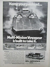 11/1972 PUB BELL AEROSPACE CANADA VOYAGEUR BAC COAST GUARD MILITARY ORIGINAL AD