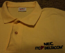 NWOT Men's Embroidered DELTACOM NEC ITC Network Communications Polo Shirt Large