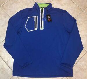 Ralph Lauren RLX Monaco Club 1/4 Zip Golf Performance Pullover Blue MED NWT $138