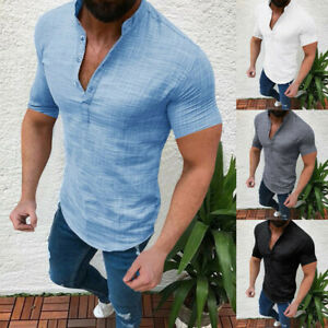 Mens Summer Casual Blouse Short Sleeve T Shirt Grandad Collar Tops Muscle Shirts