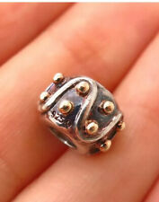 NEW 925 Sterling Silver/585 Gold Chamilia Swirl Dots Design Bead Charm