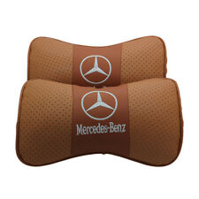 2Pc Brown Color Real Leather Car Seat Neck Pillow Car Headrest Fit For Benz Auto